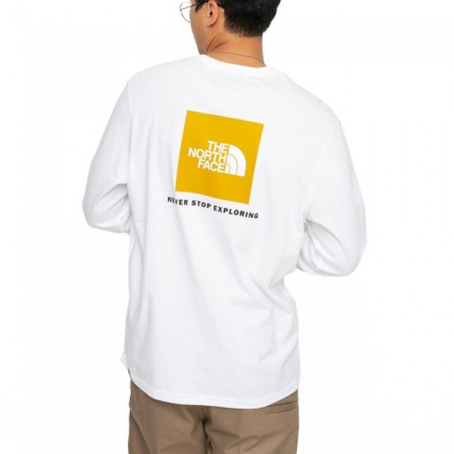 The North Face Red Box LongSleeve White/Yellow